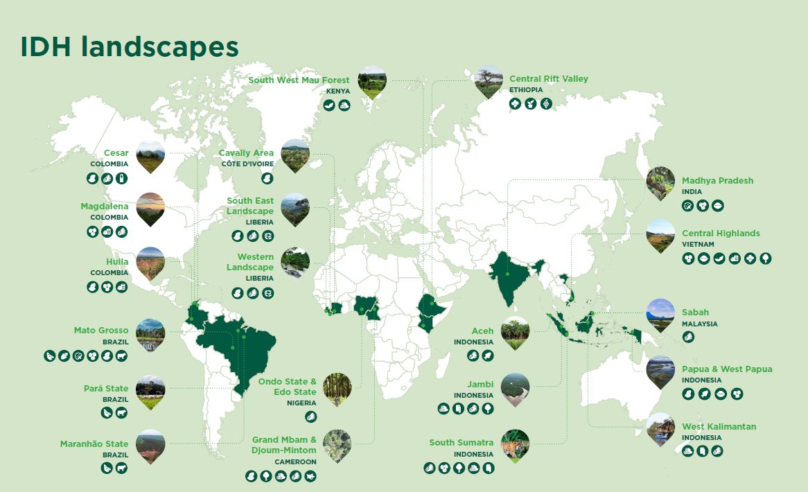 Map of IDH landscapes developing sustainability according to landscape approaches