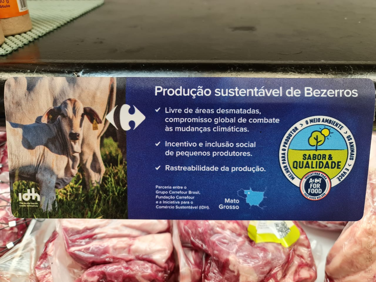 Deforestation free beef in Carrefour store in Sao Paulo